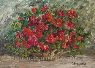 Roses vermillon, huile 5 x 7 par Clémence St-Laurent