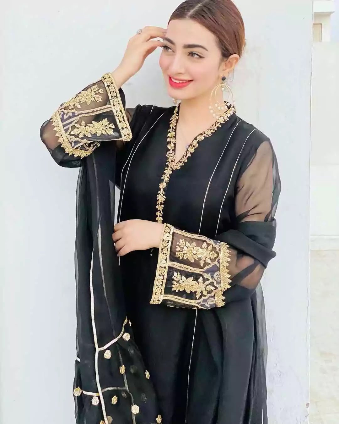 Beautiful Pictures of Nawal Saeed Wearing Black Frock