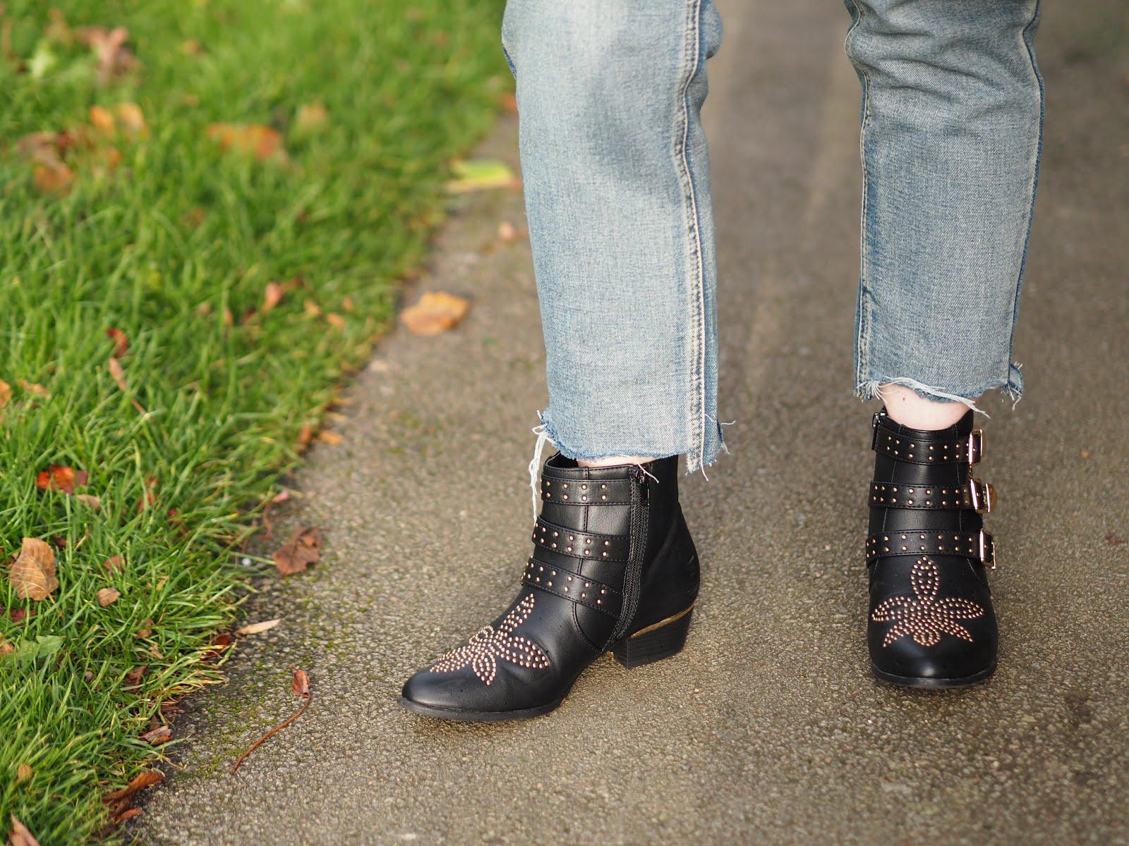 Deichmann black studded ankle boots