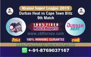 Mzansi Super League Cape Town vs Durban 9th MSL T20 2019 Match Prediction Today Reports
