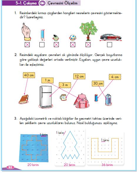3. Sınıf Berkay Yayınları Matematik Çalışma Kitabı 92. Sayfa Cevapları Çevresini Ölçelim 5-1 Çalışma