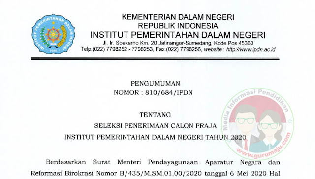 Pembukaan Pedaftaran Calon Praja IPDN Tahun 2020