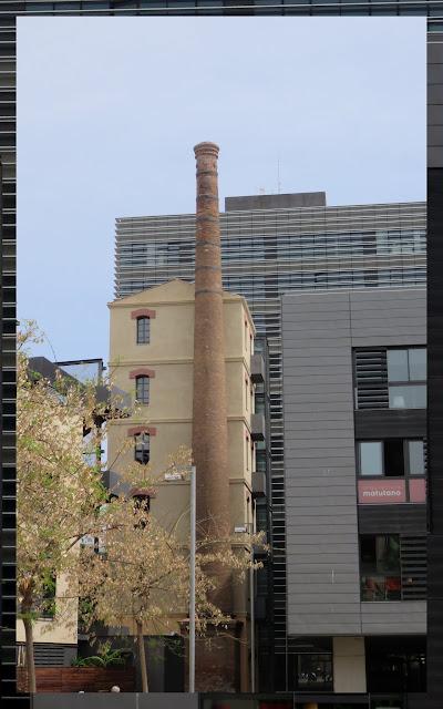 Old smokestack in El Poblenou neighborhood in Barcelona
