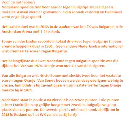 Wat feiten over Bulgarije tegen Nederland
