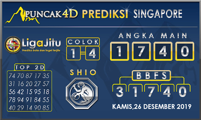 PREDIKSI TOGEL SINGAPORE PUNCAK4D 26 DESEMBER2019