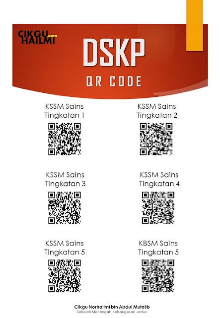 Qr Code bagi DSKP KSSM Sains Bagi Tingkatan 1 2 3 4 5