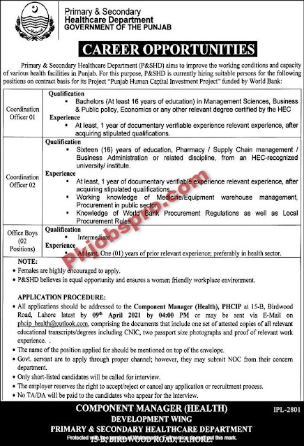 Primary and Secondary Health Care Department Jobs 2021