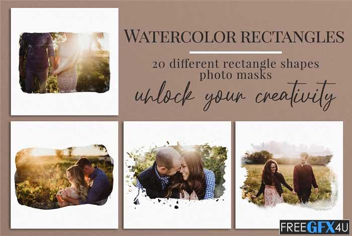 Watercolor Rectangles Photo Masks
