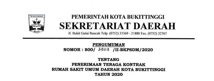 Lowongan Kerja Tenaga Kontrak Rumah Sakit Umum Daerah Kota Bukittinggi Tahun 2020
