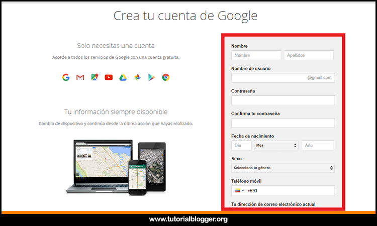 ingresando datos en gmail