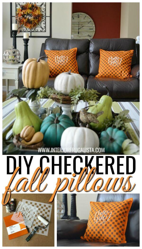 DIY Orange Checkered Fall PIllows