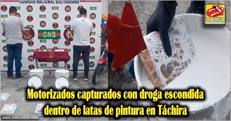 Motorizados capturados con droga escondida dentro de latas de pintura en Táchira