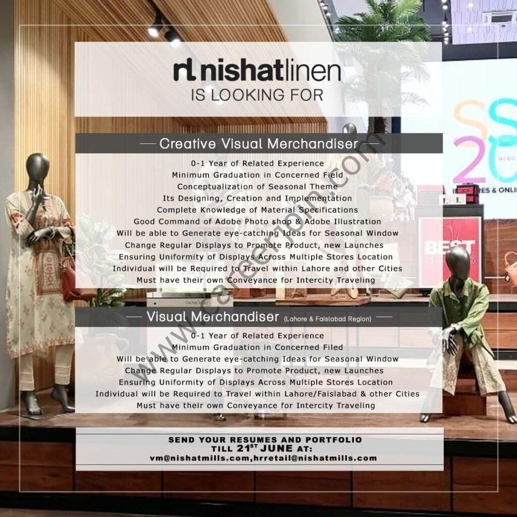 vm@nihatmills.com - Nishat Linen NL Jobs 2021 in Pakistan