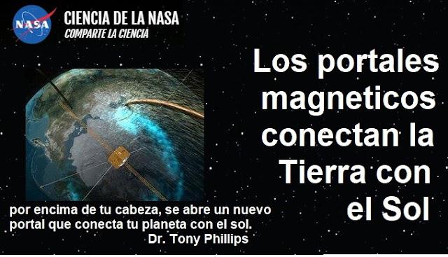 Titular de la publicacion de Nasa: portales dimensionales conectan la Tierra con el  Sol