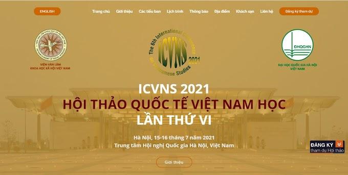 HỘI THẢO QUỐC TẾ VIỆT NAM HỌC LẦN THỨ VI ICVNS 2021