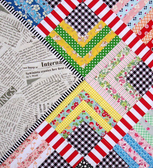 Quarter Log Cabin & Gingham Quilt - backing fabric | Red Pepper Quilts