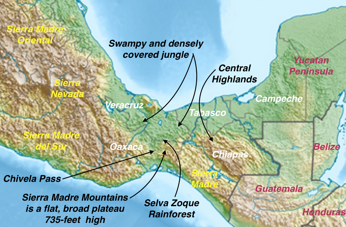 Mexican Plateau Map. There Are No Mountains On The Northern Side Of ...