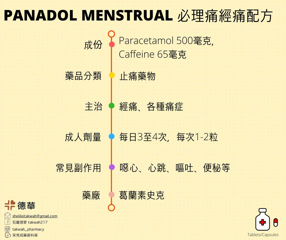 必理痛經痛配方 Panadol Menstrual