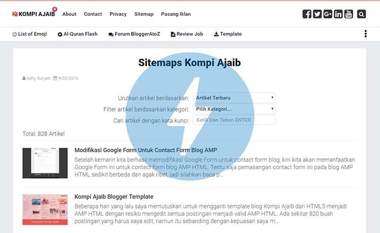 Membuat Sitemap Blog Untuk Blogger AMP HTML Dengan Custom Domain