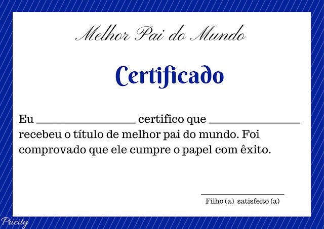 certificado de melhor pai do mundo
