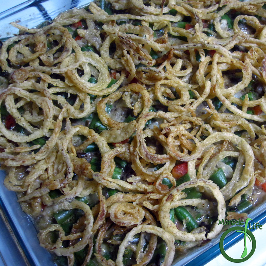 Morsels of Life - Cheesy Green Bean Casserole - Cheesy green bean casserole baked with peppers and bacon along with a crispy bread crumb (or onion string) topping.