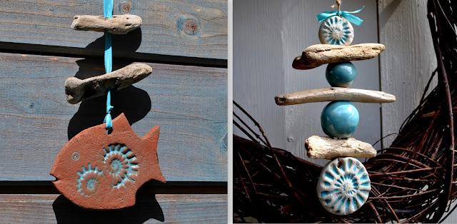 Gartendeko aus Ton und Holz