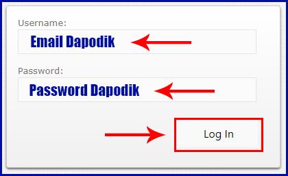 cara login verval pd, masukan email dan password dapodik