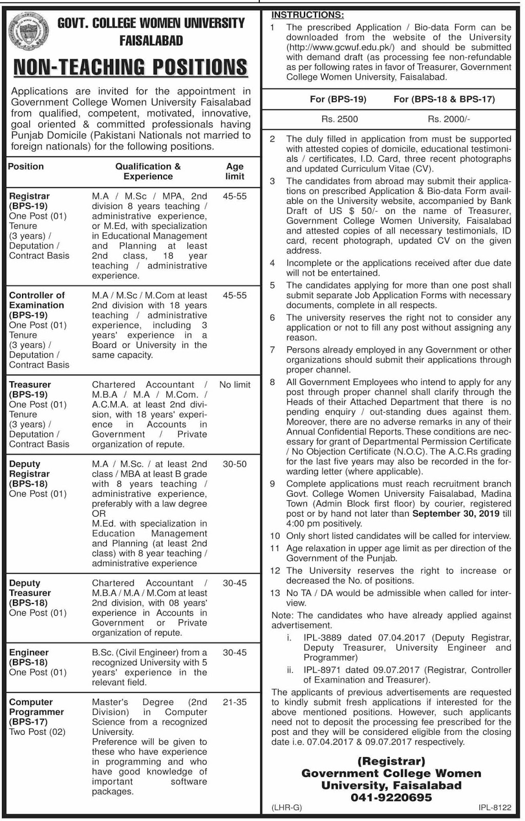 Non Teaching Jobs in Govt College Women Univeristy Faisalabad 12 Sep 2019