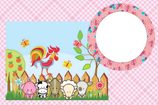 Para hacer invitaciones, tarjetas, marcos de fotos o etiquetas, para imprimir gratis de La Granja Bebés en Rosa.