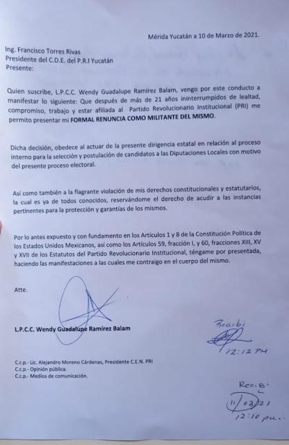 Wendy Ramírez renuncia al PRI, tras 21 años de militancia