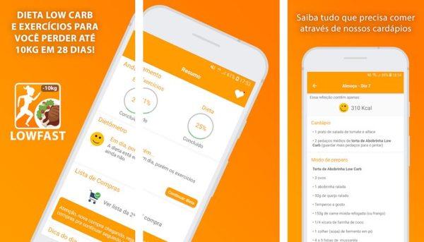 aplicativo Low Dieta - Dieta Low Carb e Exercícios