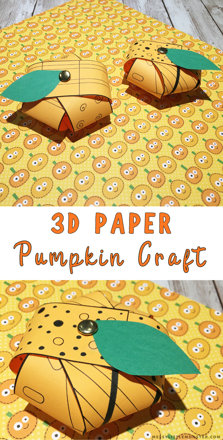 3D pumpkin craft for kids. A fun and easy paper pumpkin craft for Halloween, Thanksgiving or Autumn.