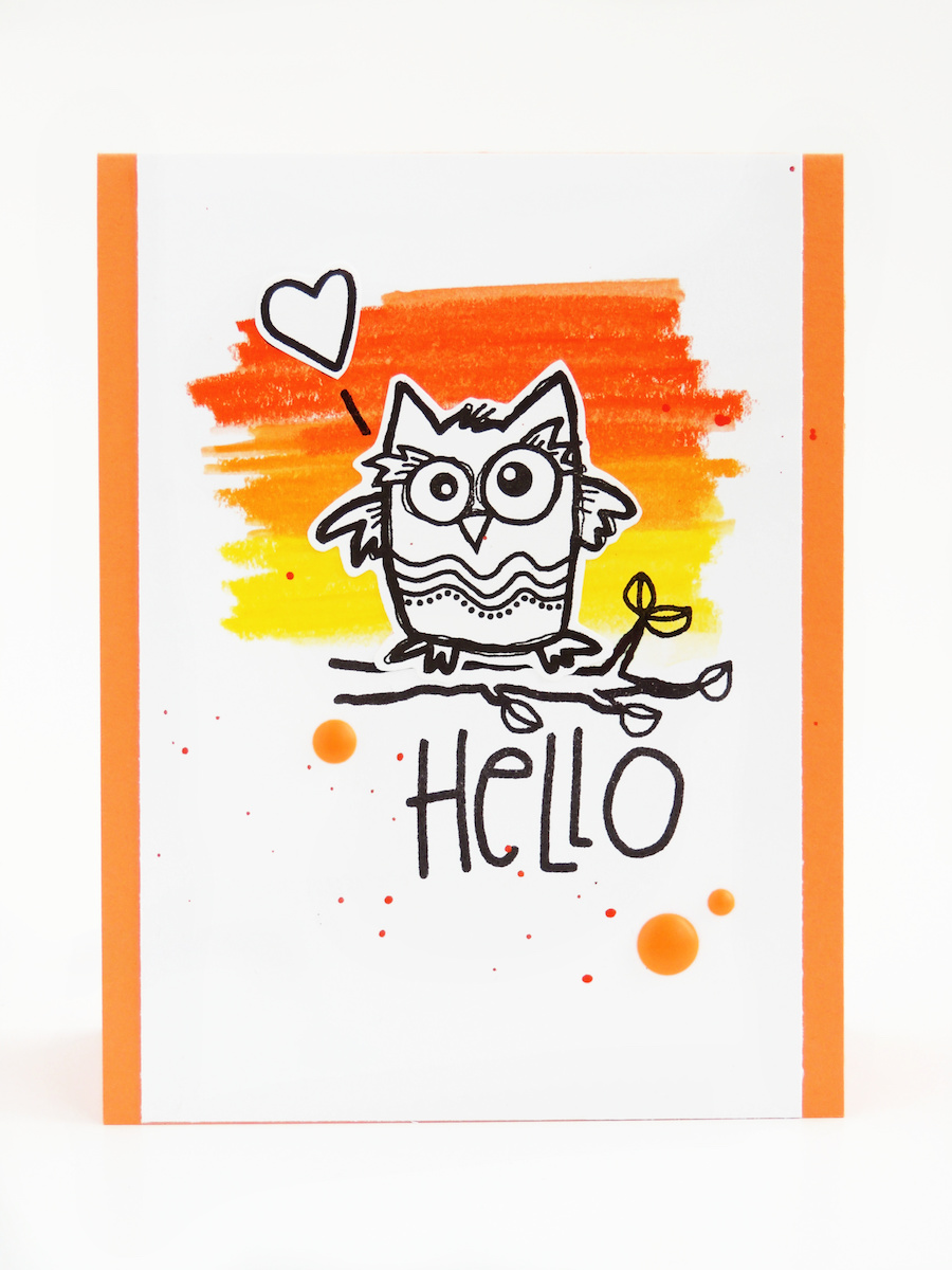 Hello Owl card with scribbled background. Learn how to make simple handmade card making ideas on my blog, like this one featuring the Owl Always Love You stamps from Impression Obsession