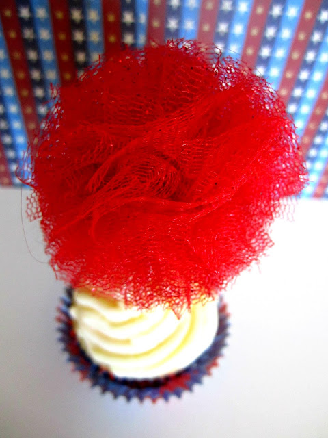 Cupcake topper, cupcake, tulle pom, glitter pom, Fizzy Party, 4th of July cupcake topper