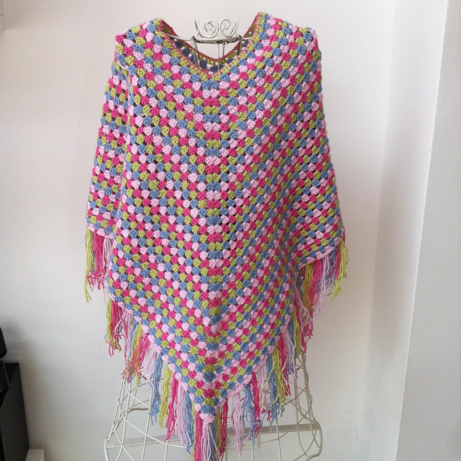 crafty red crochet poncho. Black Bedroom Furniture Sets. Home Design Ideas