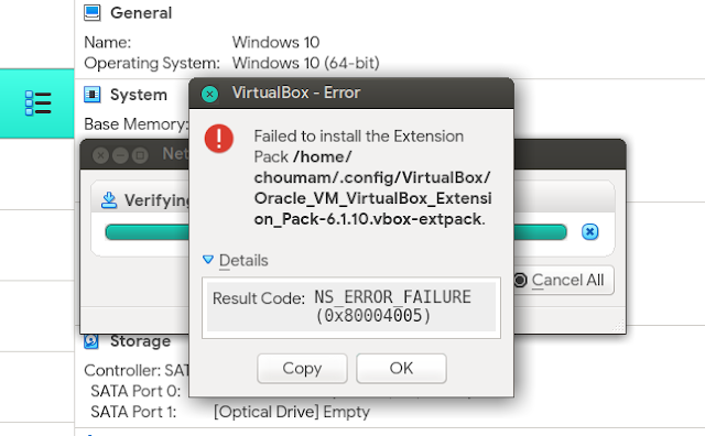 Cara Memperbaiki Galat Failed to Install the Extention Pack NS_ERROR_FAILURE di VirtualBox