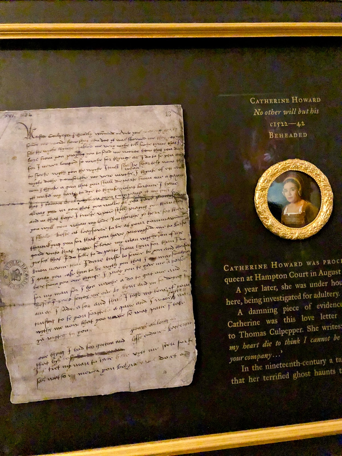 catherine howard love letter to thomas culpeper,  hampton court palace