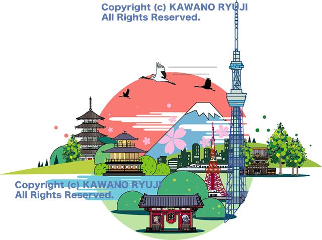 風景イラスト、和風イラスト、日本観光、インバウンド、イラスト制作、イラストレーター検索