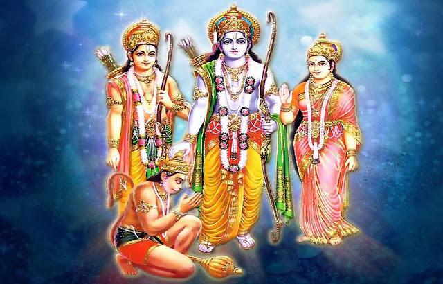 Lord Ram Sita Lakshman & Hanuman Wallpaper In Blue Background