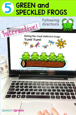 14 preschool songs and fingerplays for spring that are perfect for speech and language therapy. Using visuals like this interactive digital story for Five Green and Speckled Frogs help children with story re-telling.  #speechsprouts #speechtherapy #preschool  www.speechsproutstherapy.com