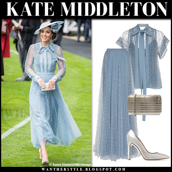 Kate Middleton in pastel blue sheer lace blouse and blue tulle skirt elie saab. Duchess of cambridge royal ascot outfit 2019