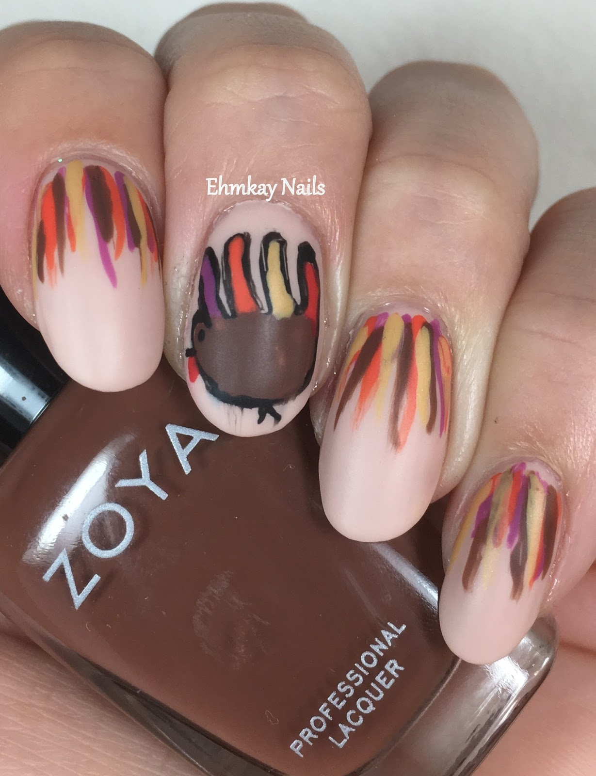 ehmkay nails: Thanksgiving Nail Art: Hand Turkeys with ...