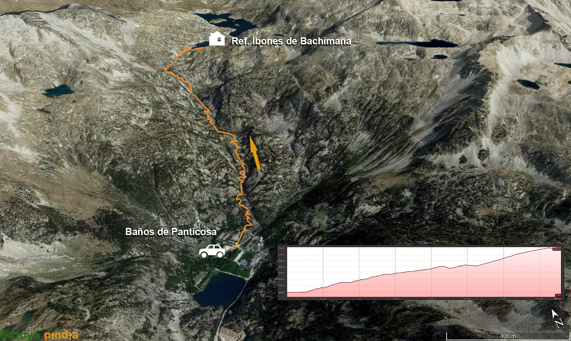 Mapa señalizado de la ruta de Panticosa al Refugio de Bachimaña
