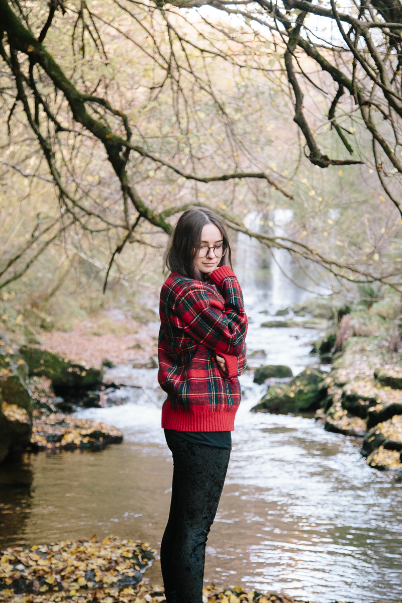 Red Tartan Jumper and Velvet Leggings Outfit OOTD