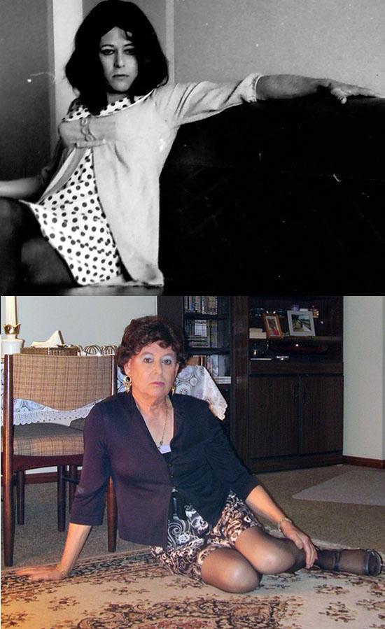 Australian femulator, Lena, in 1973 and 2011