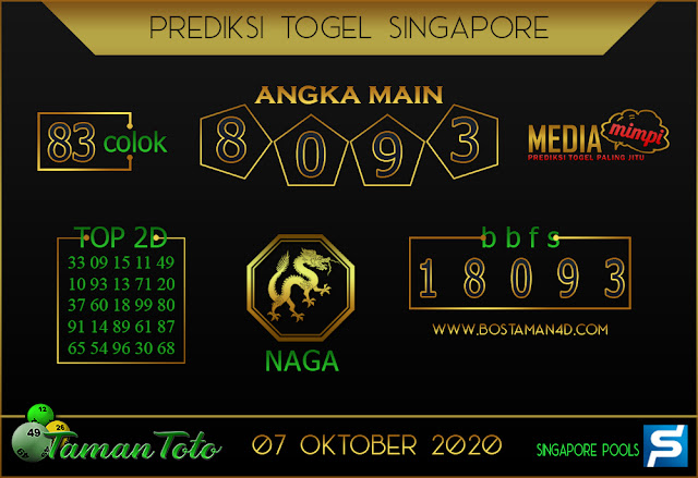 Prediksi Togel SINGAPORE TAMAN TOTO 07 OKTOBER 2020