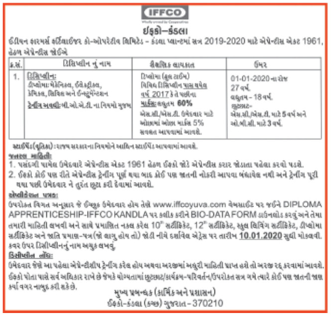 IFFCO, Kandla Recruitment for Apprentice Posts 2020
