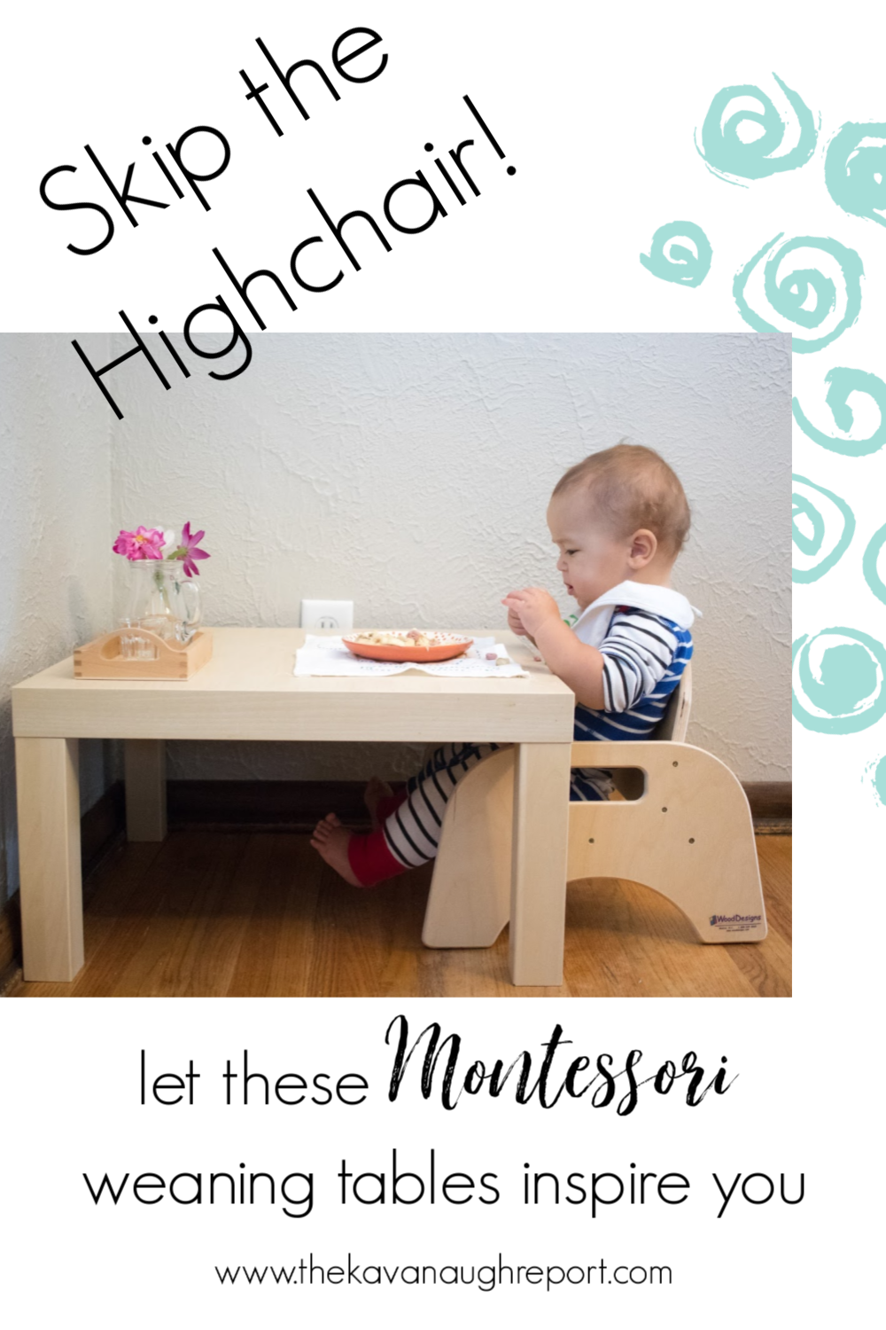 A look at different Montessori home setups for baby eating spaces. These small weaning tables are a perfect baby activity area and provide opportunities for independent eating