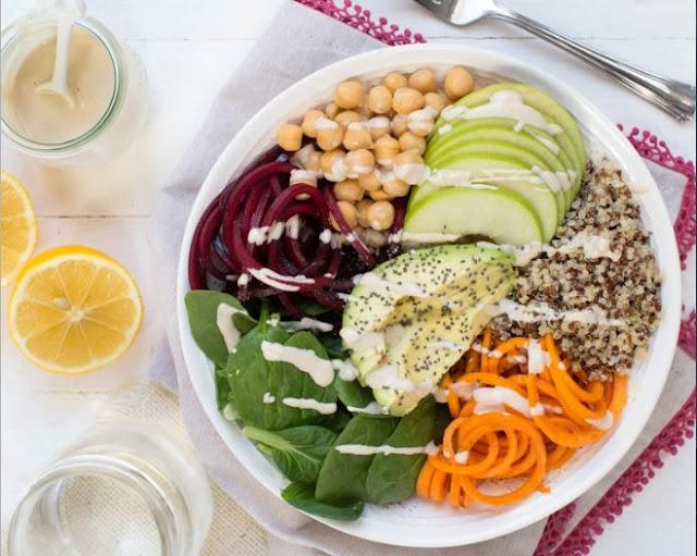 Harvest Buddha Bowl with Lemon Tahini Dressing #vegan #dinner