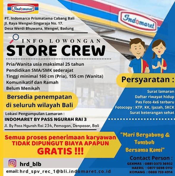 Lowongan Store Crew (Kasir/Pramuniaga) Indomaret Bali 2021